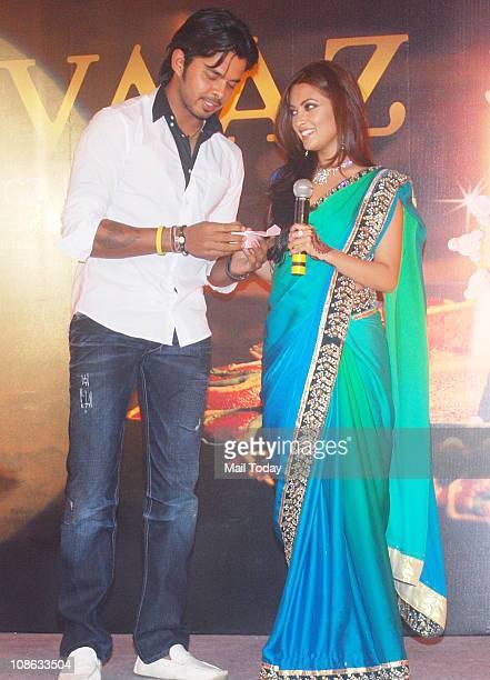 Riya Sen and Cricketer Sreesanth during the promotion of Gitanjali store's 'Rivaaz' jewellery collection at Grand Hyatt in Mumbai