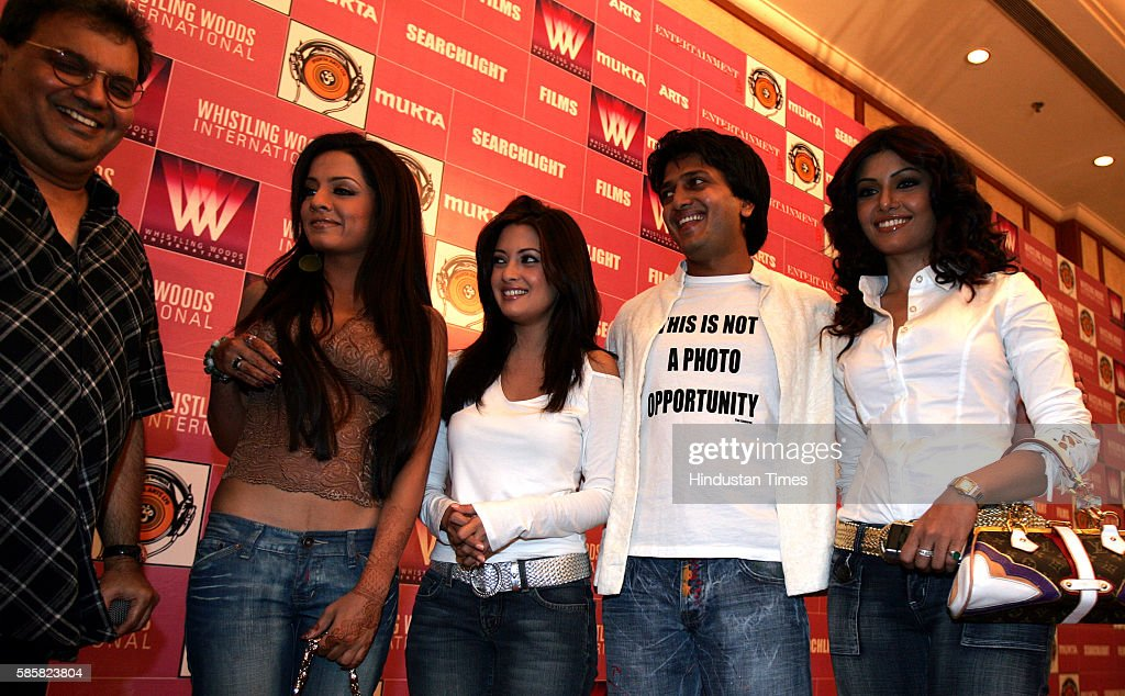 Riya Sen Subhas Ghai Celina JaitlyRitesh Deshmukh and Koena Mitra in the launch of new film Apna Sapna Money Money by Mukta Art Subhas Ghai at The...