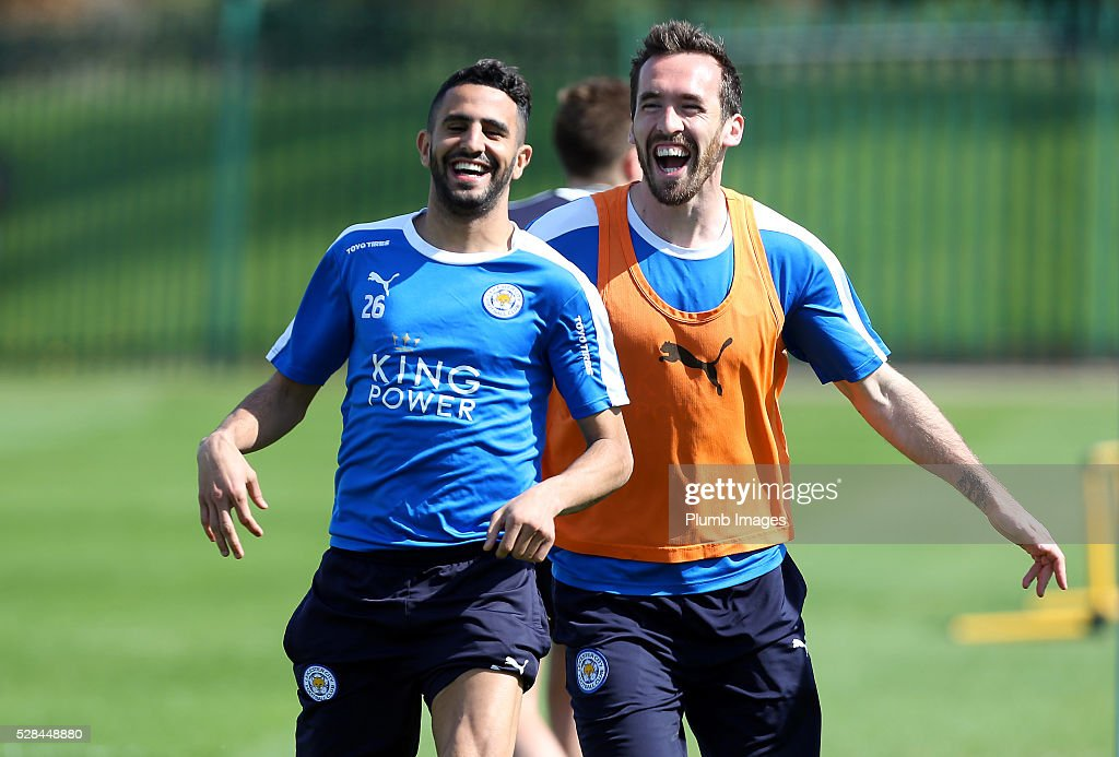 <a gi-track='captionPersonalityLinkClicked' href=/galleries/search?phrase=Riyad+Mahrez&family=editorial&specificpeople=9166027 ng-click='$event.stopPropagation()'>Riyad Mahrez</a> and <a gi-track='captionPersonalityLinkClicked' href=/galleries/search?phrase=Christian+Fuchs&family=editorial&specificpeople=4143238 ng-click='$event.stopPropagation()'>Christian Fuchs</a> share a joke during the Leicester City training session at Belvoir Drive Training Complex on May 05, 2016 in Leicester, United Kingdom.