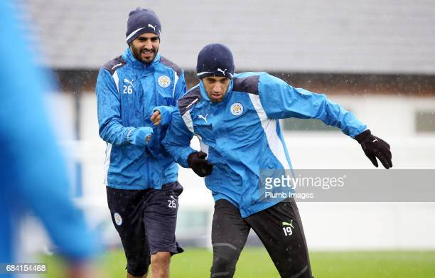 Riyad Mahrez and Islam Slimani during the Leicester City training session at Belvoir Drive Training Complex on May 17 2017 in Leicester United Kingdom