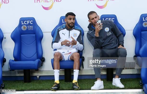 Riyad Mahrez and Islam Slimani of Leicester City at King Power Stadium ahead of the Leicester City v Borussia Monchengladbach Preseason Friendly at...