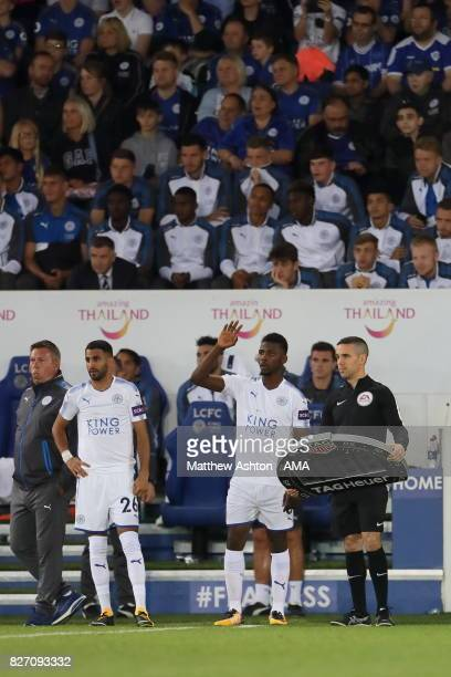 Riyad Mahrez and Kelechi Iheanacho of Leicester City prepare to enter the game during the preseason friendly match between Leicester City and...
