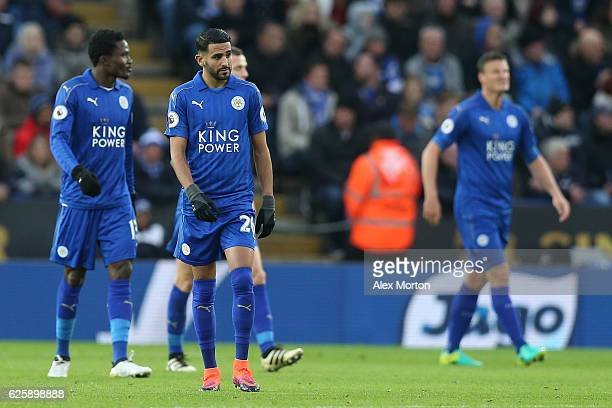 Riyad Mahrez and Leicester City players show their dejection after Middlesbrough's first goal during the Premier League match between Leicester City...