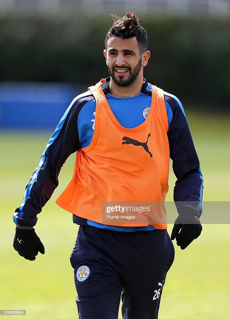 Riyad Mahrez during the Leicester City training session at Belvoir Drive Training Complex on April 29, 2016 in Leicester, United Kingdom.