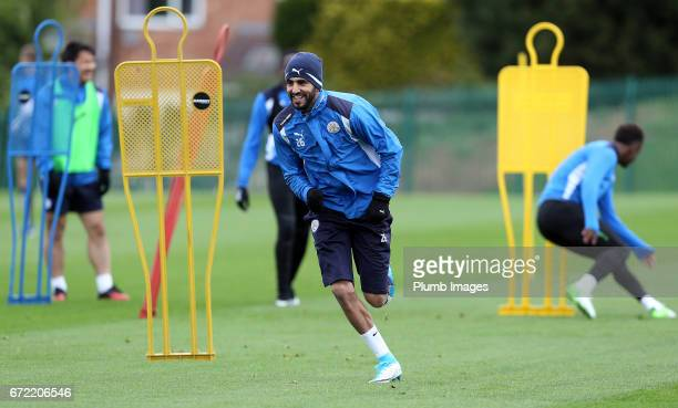 Riyad Mahrez during the Leicester City training session at Belvoir Drive Training Complex on April 24 2017 in Leicester United Kingdom