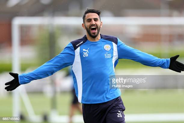 Riyad Mahrez during the Leicester City training session at Belvoir Drive Training Complex on May 20 2017 in Leicester United Kingdom