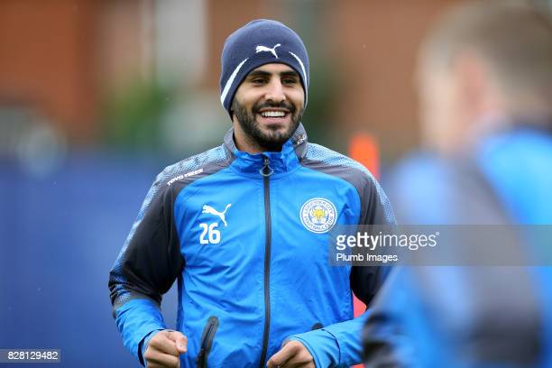 Riyad Mahrez during the Leicester City training session at Belvoir Drive Training Complex on August 09 2017 in Leicester United Kingdom