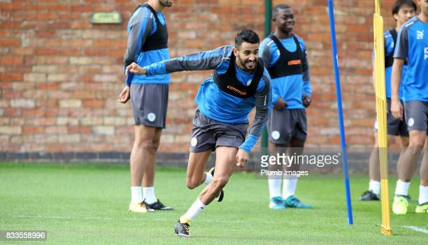 Riyad Mahrez during the Leicester City training session at Belvoir Drive Training Complex on August 17 2017 in Leicester United Kingdom