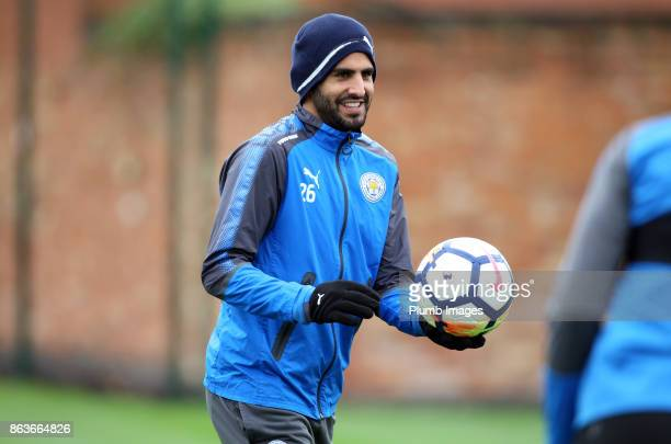 Riyad Mahrez during the Leicester City training session at Belvoir Drive Training Complex on October 20 2017 in Leicester United Kingdom