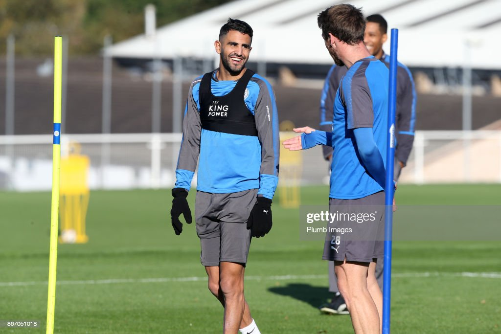 Riyad Mahrez during the Leicester City training session at Belvoir Drive Training Complex on October 27 , 2017 in Leicester, United Kingdom.