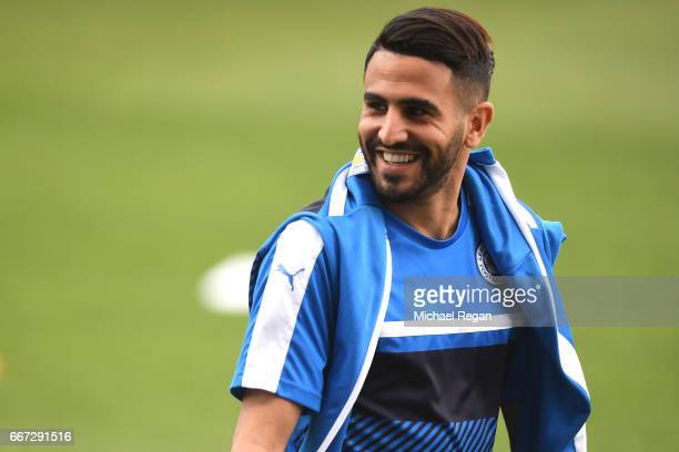 Riyad Mahrez in good spirits during a Leicester City training session ahead of their UEFA Champions League QuarterFinal match against Atletico Madrid...