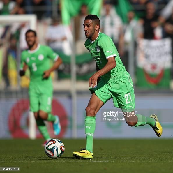 Riyad Mahrez of Algeria runs with the ball during the international friendly match between Algeria and Armenia at Estadio Tourbillon on May 31 2014...