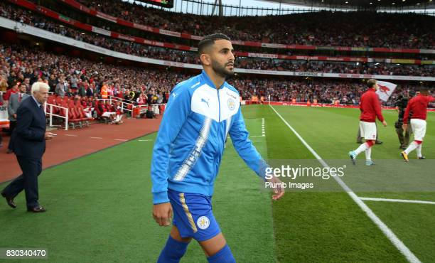 Riyad Mahrez of Leciester City takes to the pitch ahead of the Premier League match between Arsenal and Leicester City at Emirates Stadium on August...