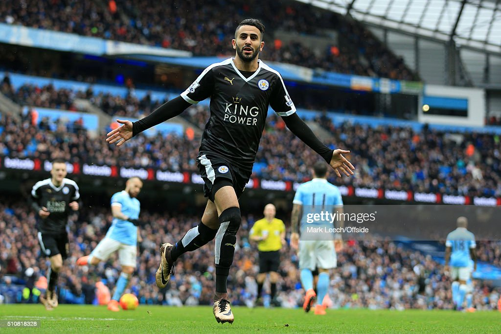 Riyad Mahrez of Leicester celebrates after scoring their 2nd goa during the Barclays Premier League match between Manchester City and Leicester City at the Etihad Stadium on February 6, 2016 in Manchester, England.