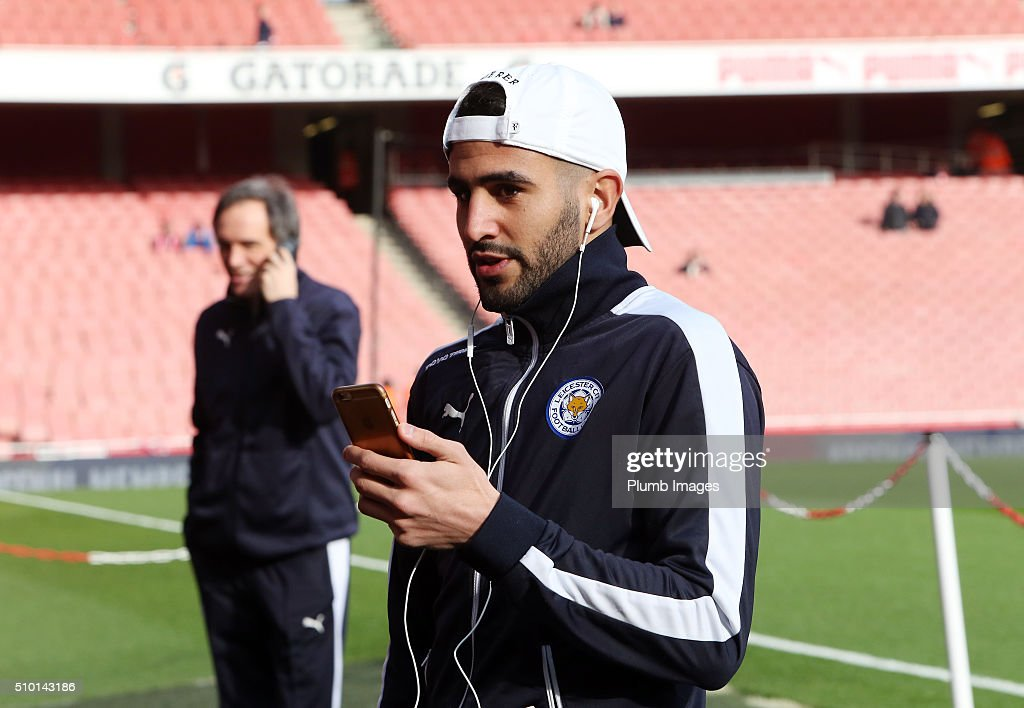 <a gi-track='captionPersonalityLinkClicked' href=/galleries/search?phrase=Riyad+Mahrez&family=editorial&specificpeople=9166027 ng-click='$event.stopPropagation()'>Riyad Mahrez</a> of Leicester City ahead of the Barclays Premier League match between Arsenal and Leicester City at Emirates Stadium on February 14, 2016 in London, United Kingdom.