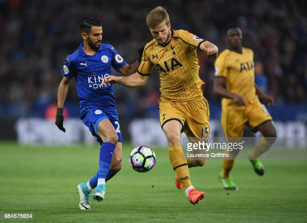 Riyad Mahrez of Leicester City and Eric Dier of Tottenham Hotspur battle for the ball during the Premier League match between Leicester City and...
