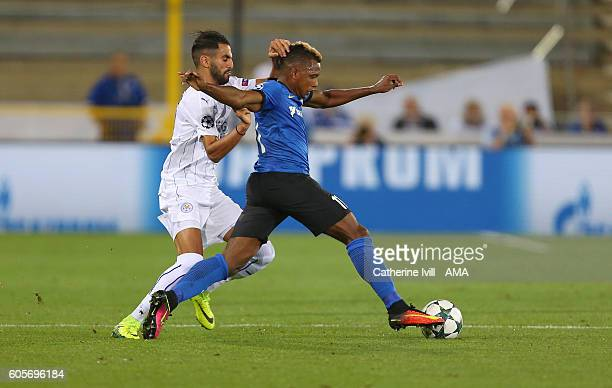 Riyad Mahrez of Leicester City and Jose Izquierdo of Club Brugge during the UEFA Champions League match between Club Brugge and Leicester City at Jan...