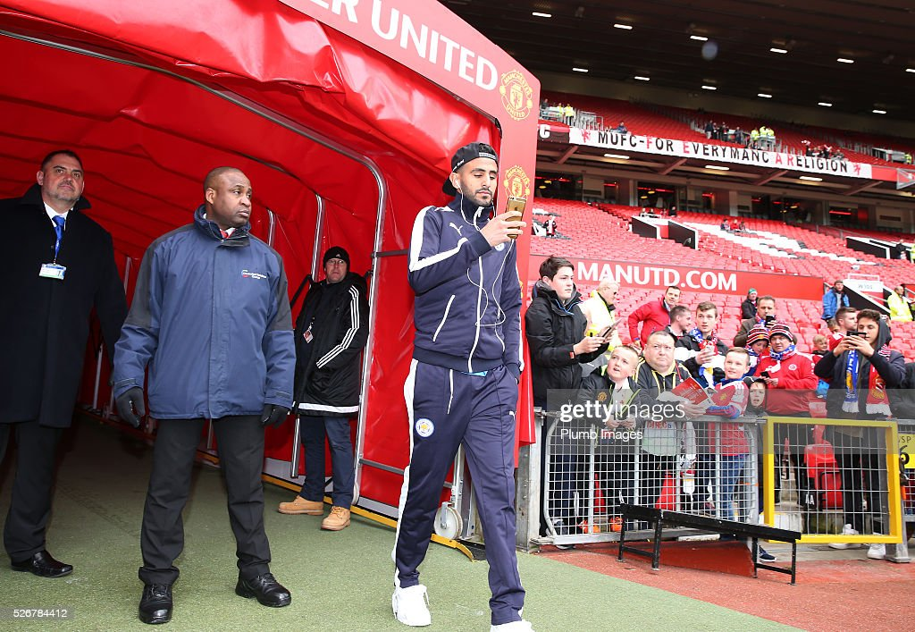 Riyad Mahrez of Leicester City arrives at Old Trafford ahead of the Premier League match between Manchester United and Leicester City at Old Trafford on May 01, 2016 in Manchester, United Kingdom.