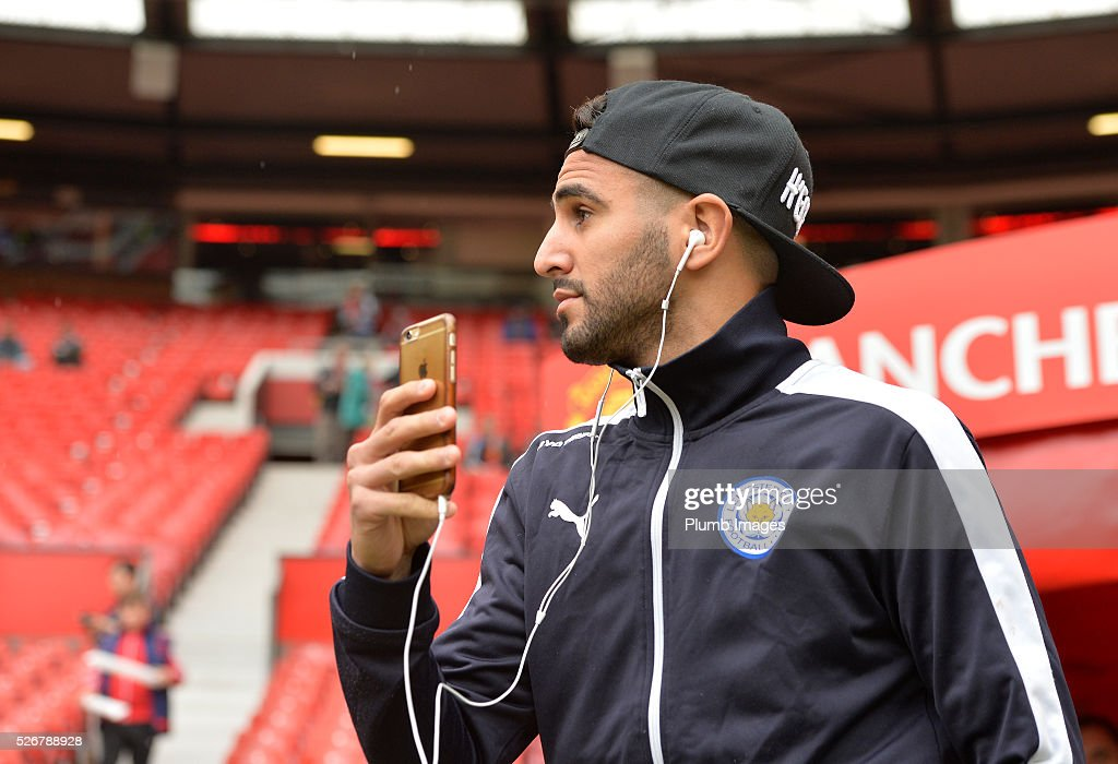 <a gi-track='captionPersonalityLinkClicked' href=/galleries/search?phrase=Riyad+Mahrez&family=editorial&specificpeople=9166027 ng-click='$event.stopPropagation()'>Riyad Mahrez</a> of Leicester City at Old Trafford ahead of the Premier League match between Manchester United and Leicester City at Old Trafford on May 01, 2016 in Manchester, United Kingdom.