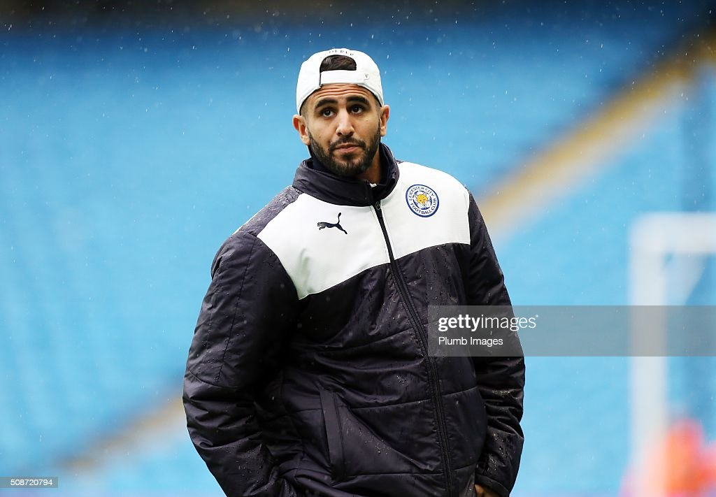 Riyad Mahrez of Leicester City at the Etihad Stadium ahead of the Premier League match between Manchester City and Leicester City at Etihad Stadium on February 6, 2016 in Manchester, United Kingdom.