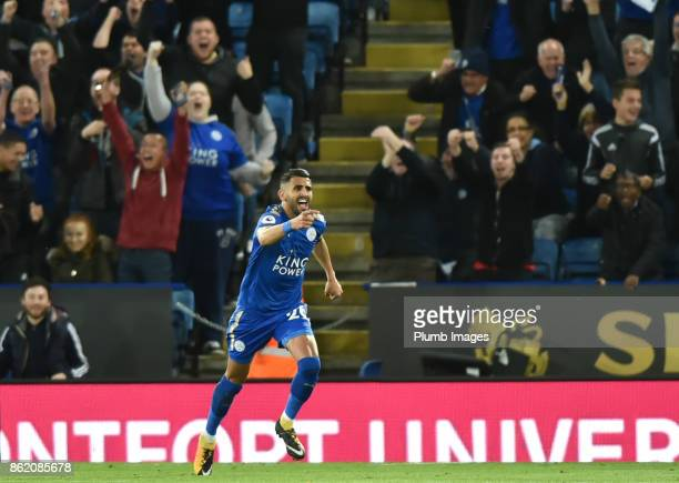 Riyad Mahrez of Leicester City celebrates after making the score 11 during the Premier League match between Leicester City and West Bromwich Albion...