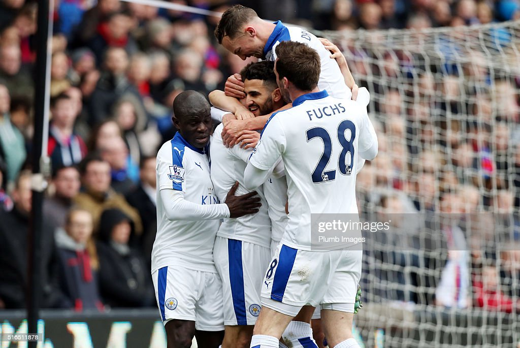 Riyad Mahrez of Leicester City celebrates after scoring to make it 0-1 during the Premier League match between Crystal Palace and Leicester City at Selhurst Park on March 19, 2016 in London, United Kingdom.