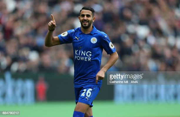 Riyad Mahrez of Leicester City celebrates after scoring to make it 01 during the Premier League match between West Ham United and Leicester City at...