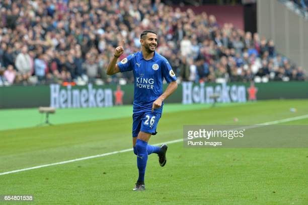 Riyad Mahrez of Leicester City celebrates after scoring to make it 01 during the Premier League match between West Ham and Leicester City at London...