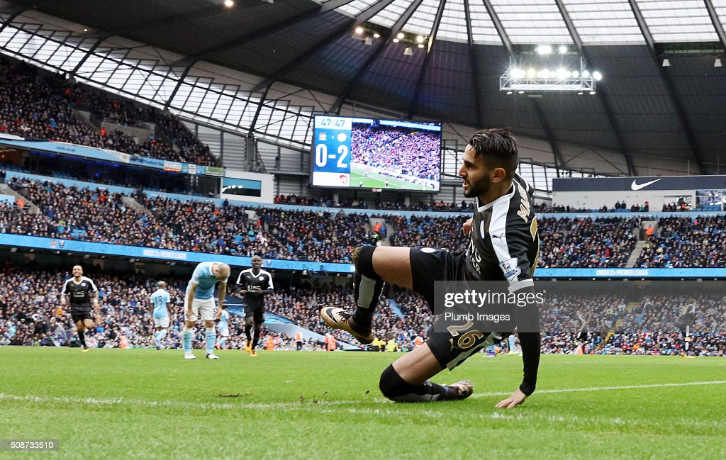 Riyad Mahrez of Leicester City celebrates after scoring to make it 0-2 during the Premier League match between Manchester City and Leicester City at Etihad Stadium on February 6, 2016 in Manchester, United Kingdom.