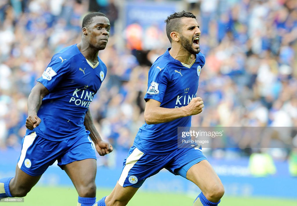 Riyad Mahrez of Leicester City celebrates after scoring to make it 1-1 during the Barclays Premier League match between Leicester City and Tottenham Hotspur at the King Power Stadium on August 22, 2015 in Leicester, United Kingdom.