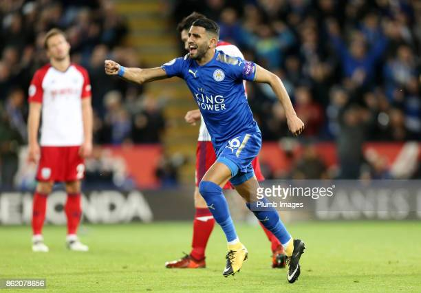 Riyad Mahrez of Leicester City celebrates after scoring to make it 11 during the Premier League match between Leicester City and West Bromwich Albion...