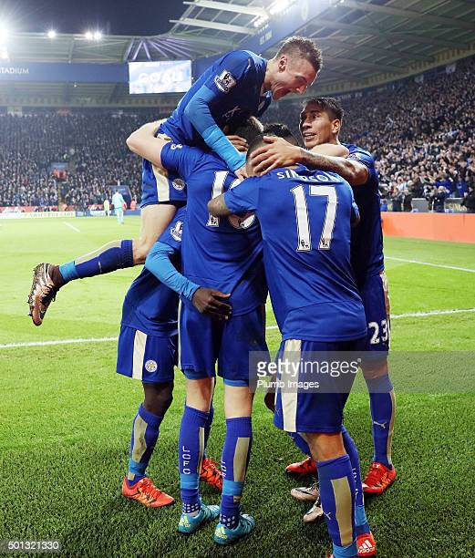 Riyad Mahrez of Leicester City celebrates after scoring to make it 20 during the Barclays Premier League match between Leicester City and Chelsea at...