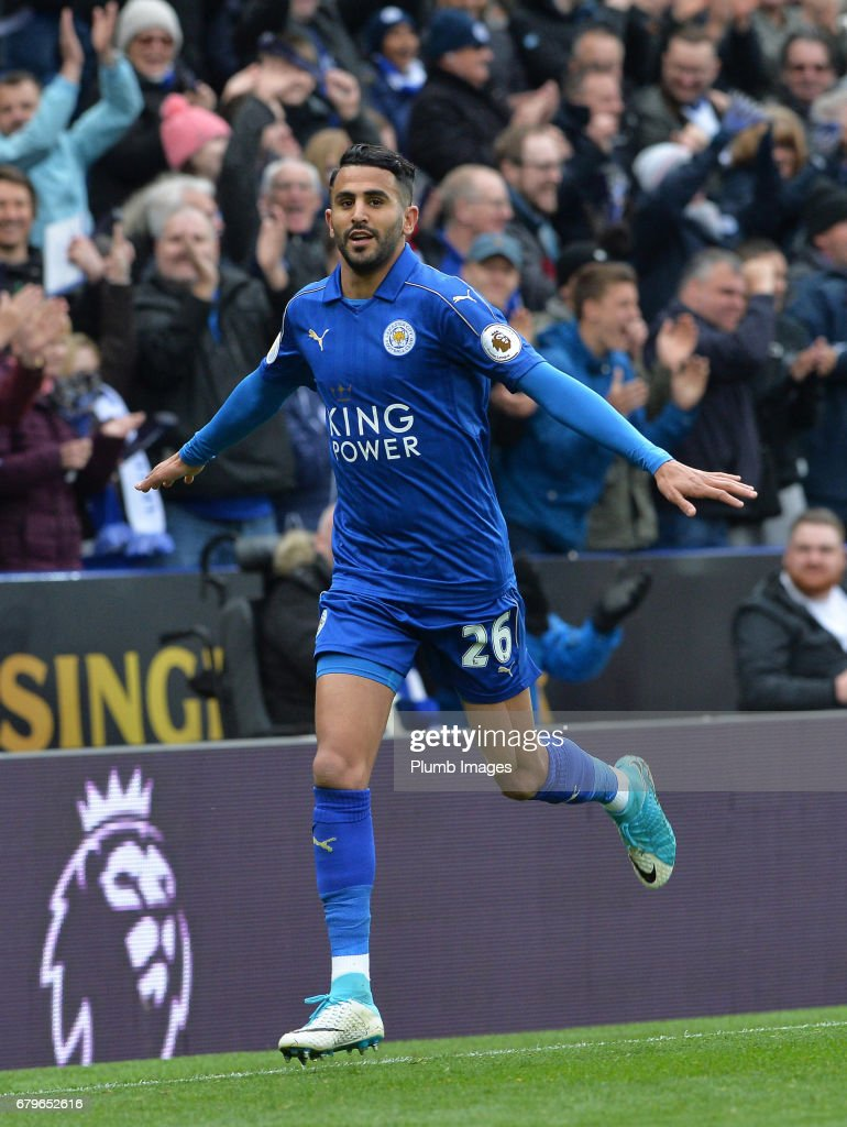 Riyad Mahrez of Leicester City celebrates after scoring to make it 2-0 during of the Premier League match between Leicester City and Watford at King Power Stadium on May 06 , 2017 in Leicester, United Kingdom.