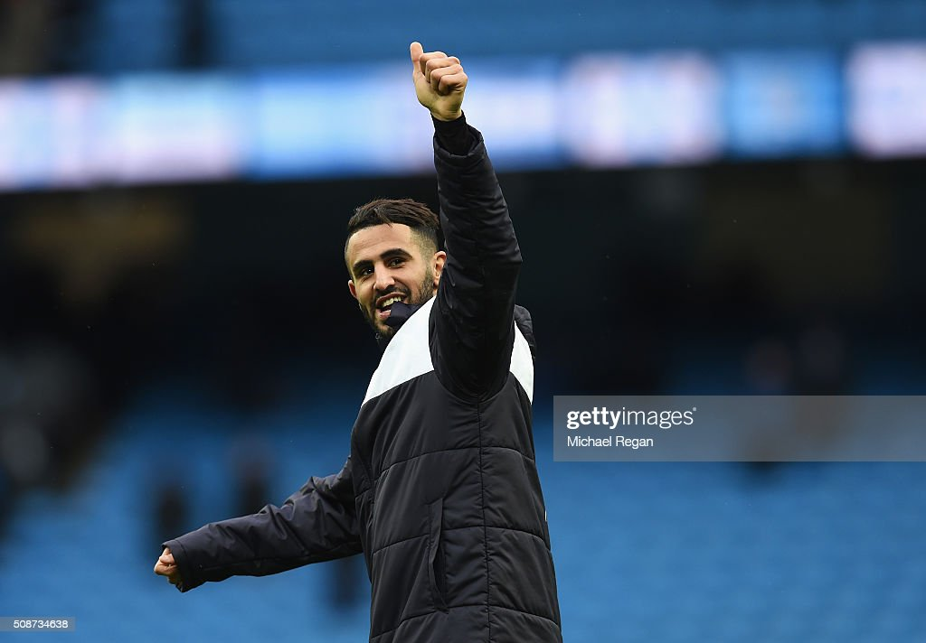 <a gi-track='captionPersonalityLinkClicked' href=/galleries/search?phrase=Riyad+Mahrez&family=editorial&specificpeople=9166027 ng-click='$event.stopPropagation()'>Riyad Mahrez</a> of Leicester City celebrates his team's win in the Barclays Premier League match between Manchester City and Leicester City at the Etihad Stadium on February 6, 2016 in Manchester, England.