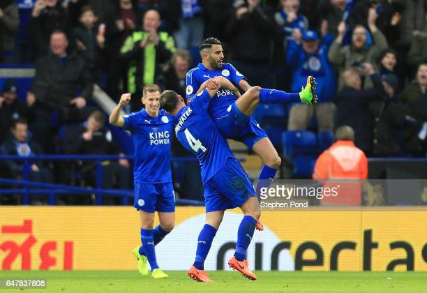 Riyad Mahrez of Leicester City celebrates scoring his sides second goal with Danny Drinkwater of Leicester City during the Premier League match...