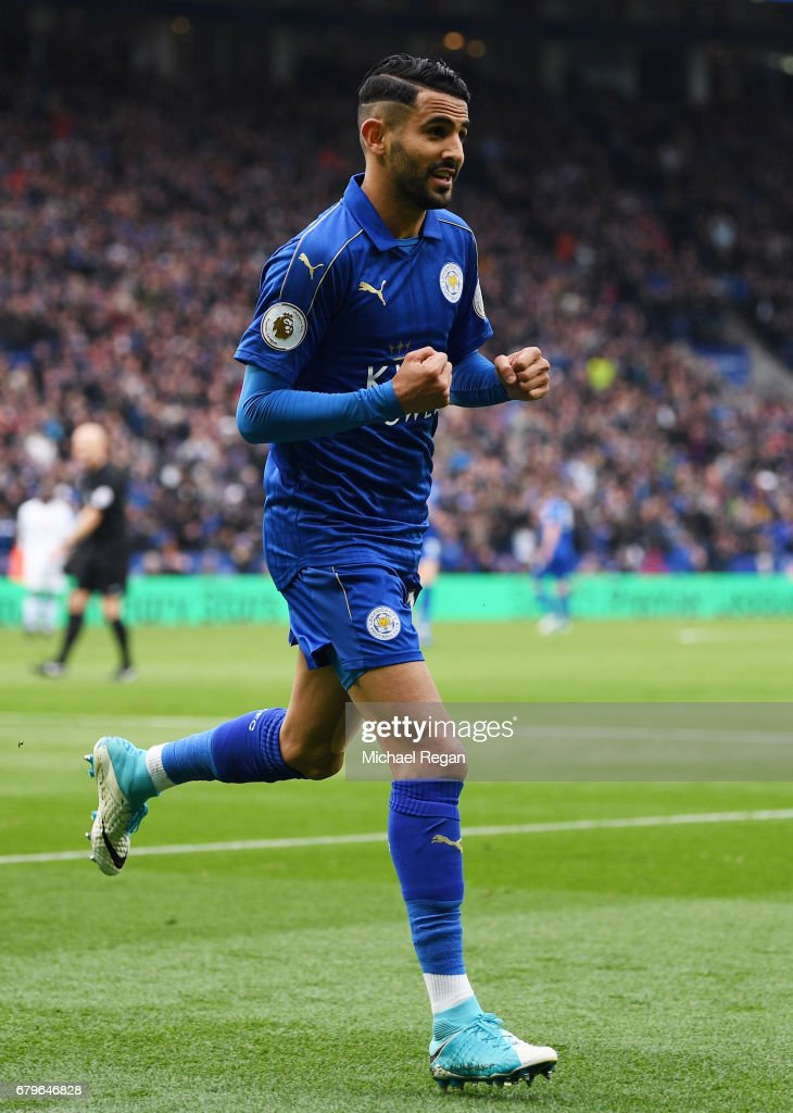 Riyad Mahrez of Leicester City celebrates scoring his sides second goal during the Premier League match between Leicester City and Watford at The King Power Stadium on May 6, 2017 in Leicester, England.