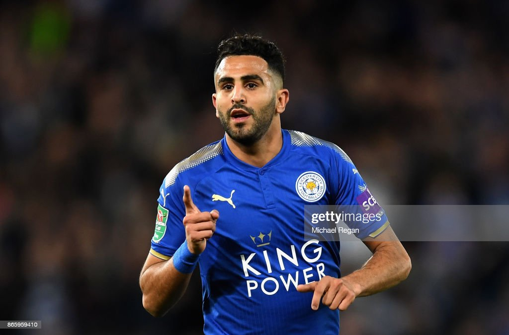 Riyad Mahrez of Leicester City celebrates scoring his sides third goal during the Caraboa Cup Fourth Round match between Leicester City and Leeds United at The King Power Stadium on October 24, 2017 in Leicester, England.