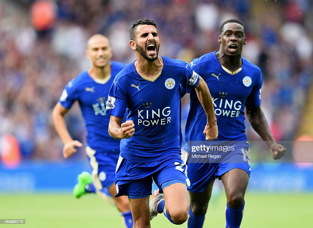Riyad Mahrez of Leicester City celebrates scoring his team's first goal during the Barclays Premier League match between Leicester City and Tottenham...