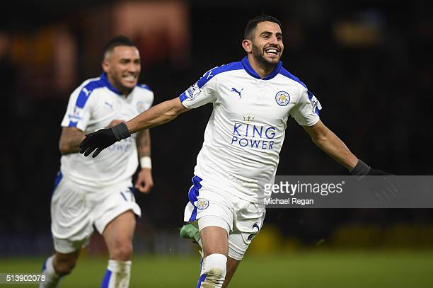 Riyad Mahrez of Leicester City celebrates scoring his team's first goal during the Barclays Premier League match between Watford and Leicester City...