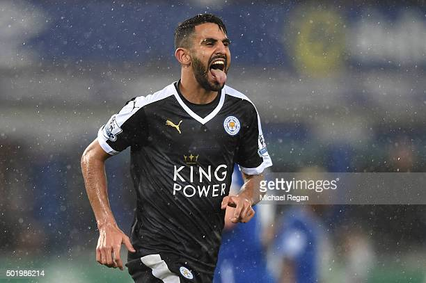 Riyad Mahrez of Leicester City celebrates scoring his team's second goal from the penalty spot during the Barclays Premier League match between...