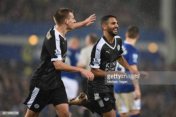 Riyad Mahrez of Leicester City celebrates scoring his team's second goal with his team mate Marc Albrighton during the Barclays Premier League match...