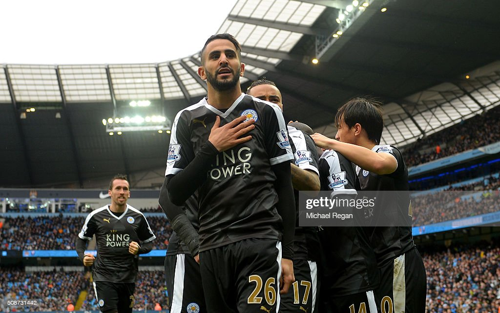 Riyad Mahrez of Leicester City celebrates scoring his team's second goal during the Barclays Premier League match between Manchester City and Leicester City at the Etihad Stadium on February 6, 2016 in Manchester, England.