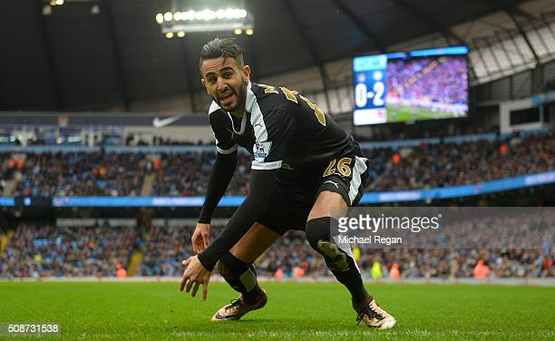 Riyad Mahrez of Leicester City celebrates scoring his team's second goal during the Barclays Premier League match between Manchester City and...