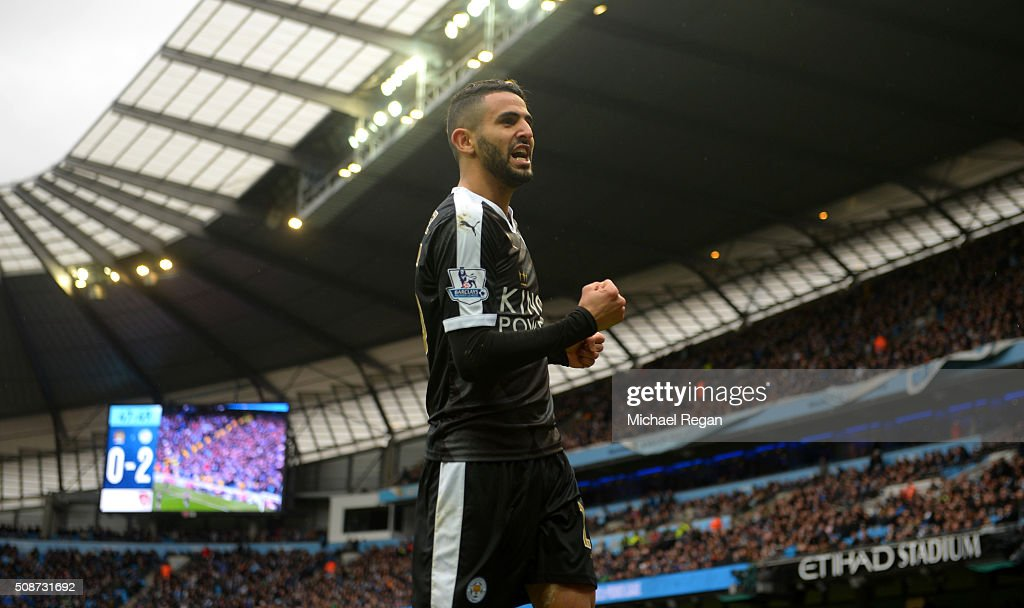<a gi-track='captionPersonalityLinkClicked' href=/galleries/search?phrase=Riyad+Mahrez&family=editorial&specificpeople=9166027 ng-click='$event.stopPropagation()'>Riyad Mahrez</a> of Leicester City celebrates scoring his team's second goal during the Barclays Premier League match between Manchester City and Leicester City at the Etihad Stadium on February 6, 2016 in Manchester, England.