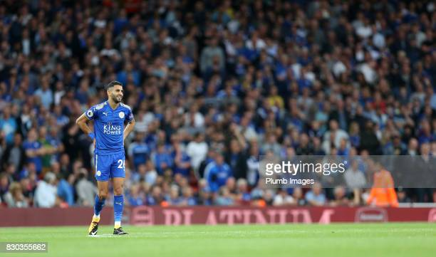 Riyad Mahrez of Leicester City during the Premier League match between Arsenal and Leicester City at Emirates Stadium on August 11th 2017 in London...