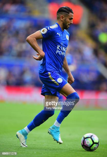 Riyad Mahrez of Leicester City during the Premier League match between Leicester City and AFC Bournemouth at The King Power Stadium on May 21 2017 in...