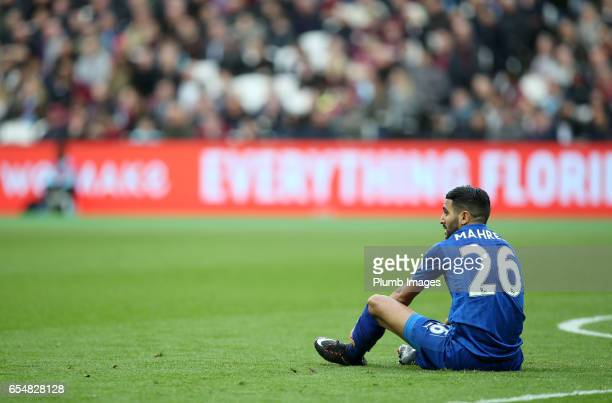 Riyad Mahrez of Leicester City during the Premier League match between West Ham and Leicester City at London Stadium on March 18 2017 in Stratford...