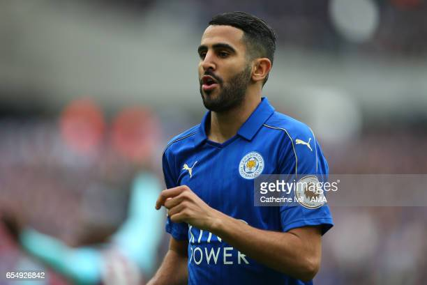Riyad Mahrez of Leicester City during the Premier League match between West Ham United and Leicester City at London Stadium on March 18 2017 in...