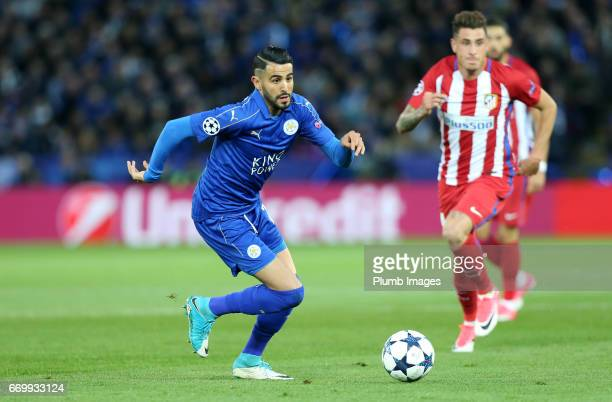 Riyad Mahrez of Leicester City during the UEFA Champions League Quarter Final Second Leg match between Leicester City and Club Atletico de Madrid at...