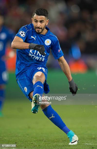 Riyad Mahrez of Leicester City during the UEFA Champions League Quarter Final Second Leg match between Leicester City FC and Club Atletico de Madrid...